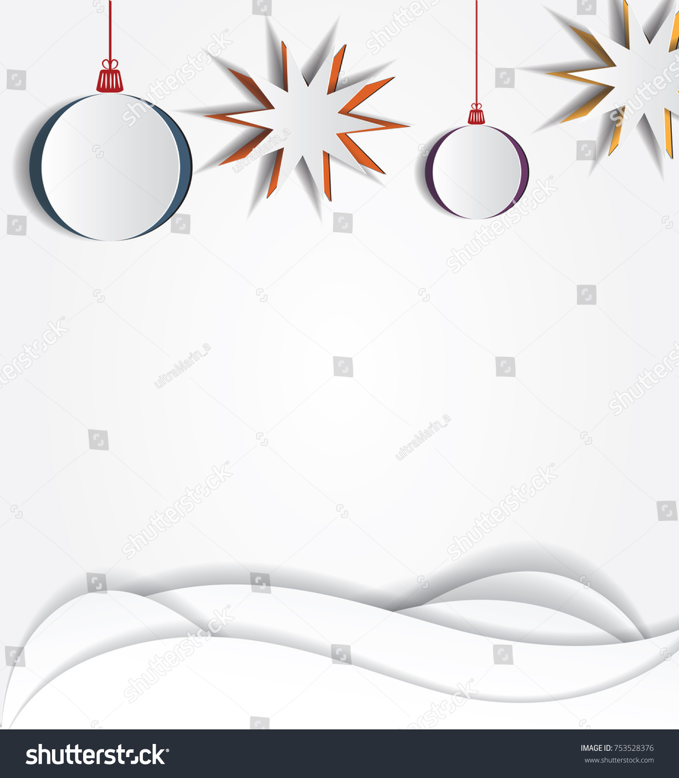 Christmas Paper Stars And Balls. Vector Layered Template. Realistic Cutout  Decor. Space For