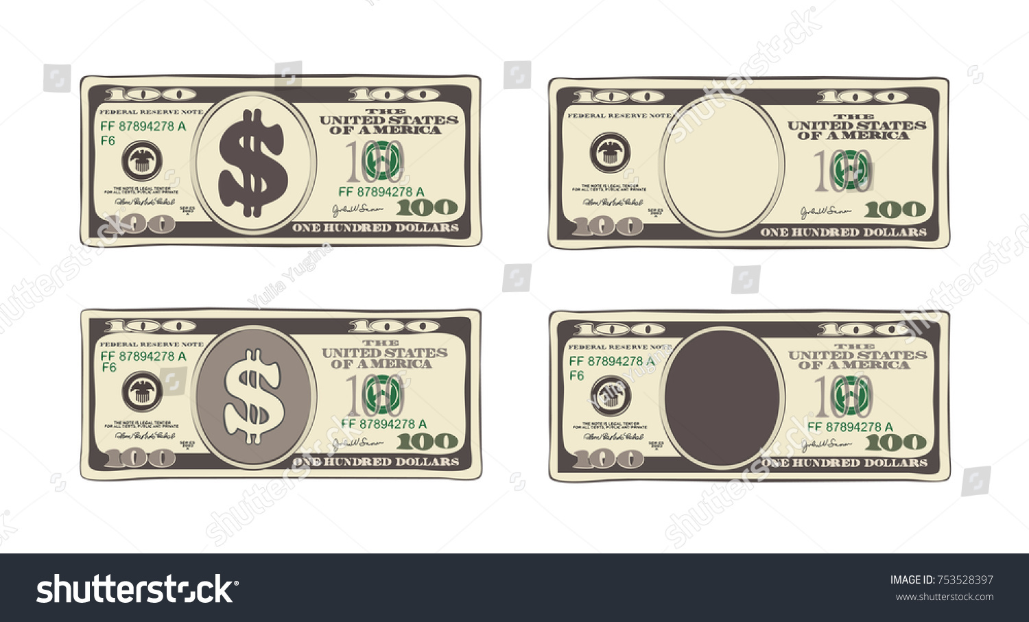 100 Dollars Flat Cartoon Style Vector Stock Vector (Royalty Free ...