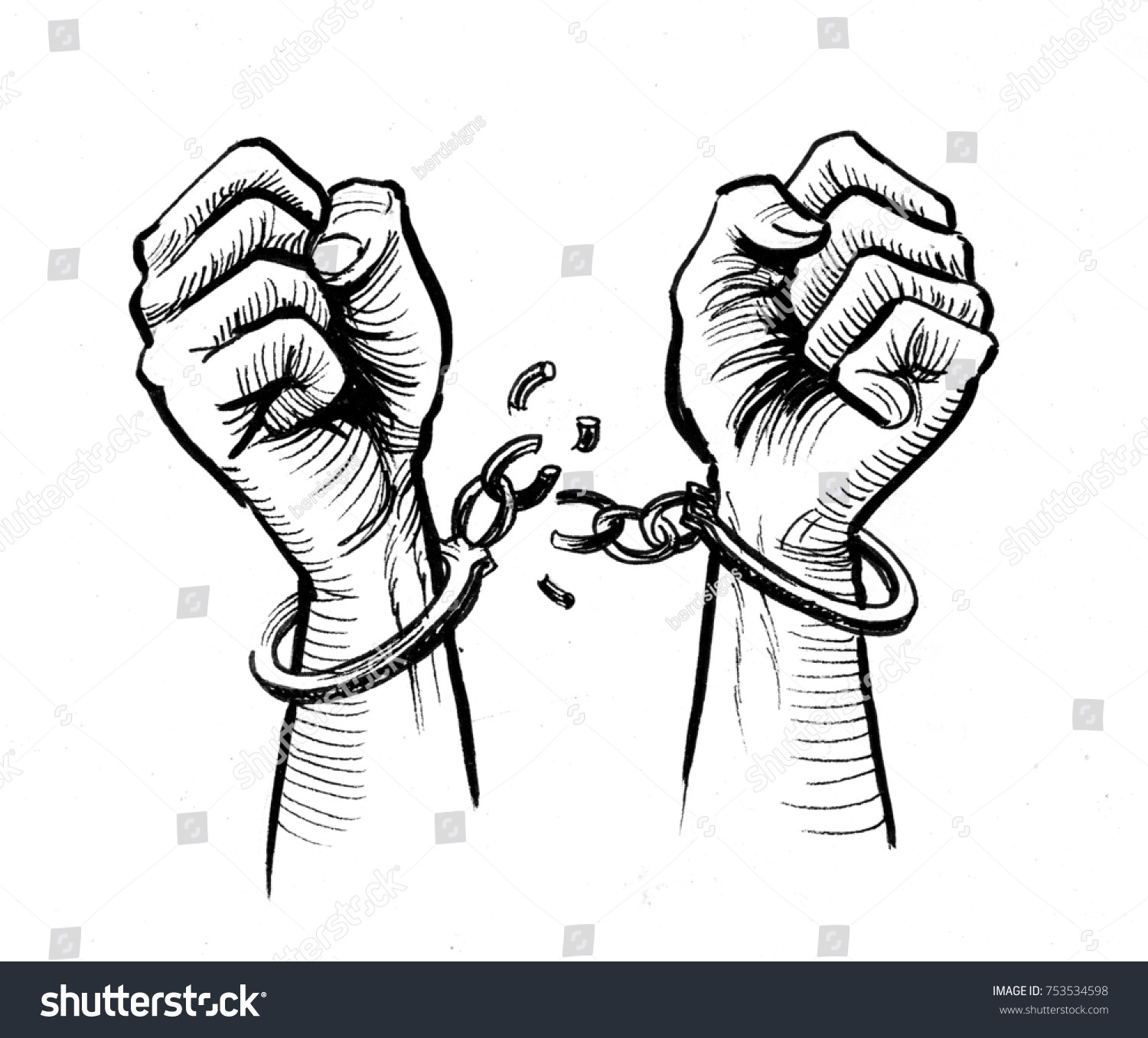 Hands Breaking Chains Stock Illustration 753534598
