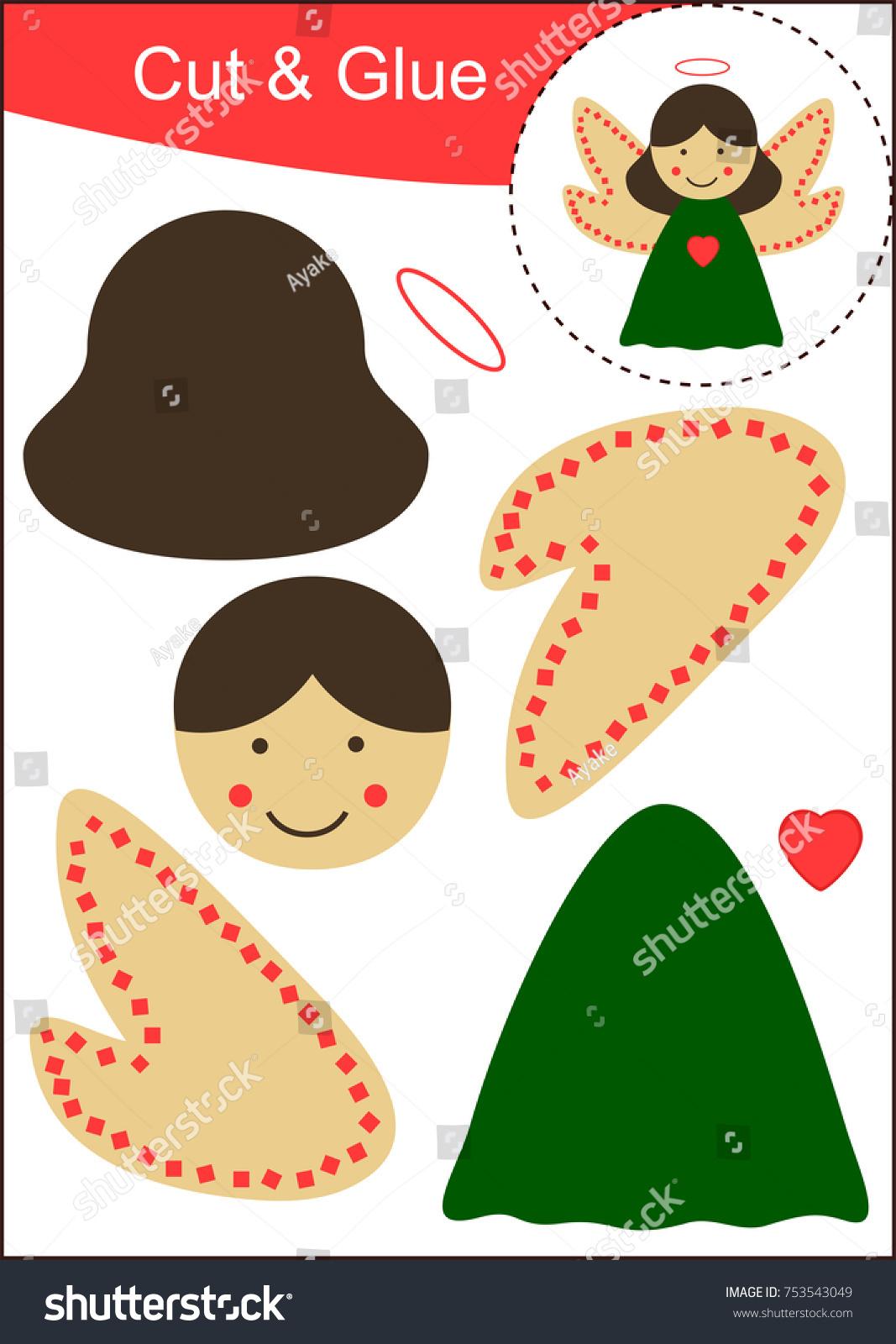 Cut Paste Worksheet Christmas Angel Stock Vector 753543049 ...