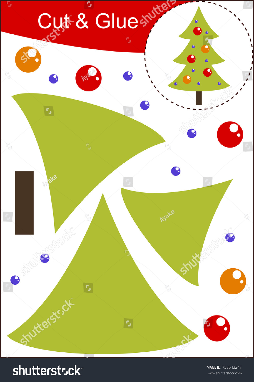 Cut Paste Worksheet Christmas Tree Stock Vector 753543247 ...