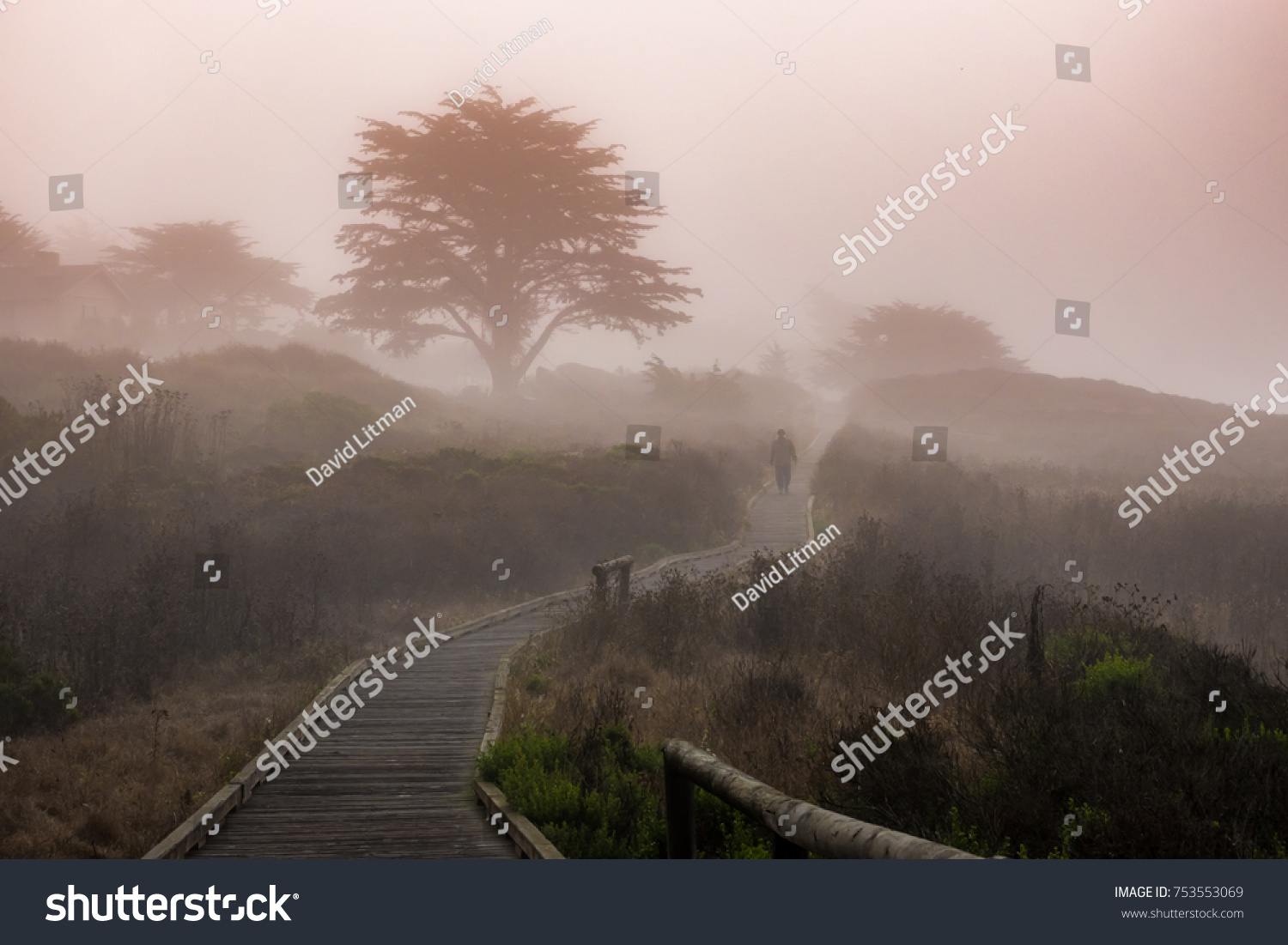 A man walks along the Moonstone Beach Boardwalk on a misty day in Cambria, California.