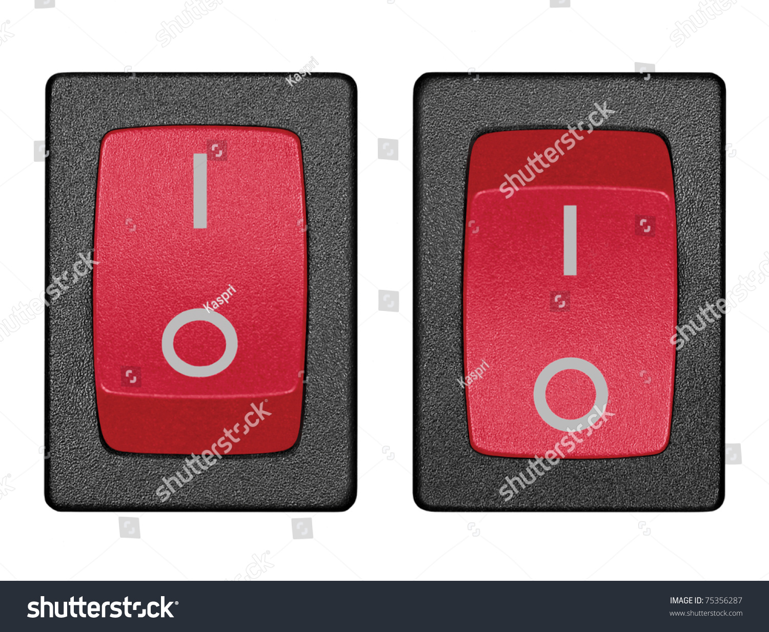 Red Power Switches On Off Position Stock Photo Edit Now 75356287