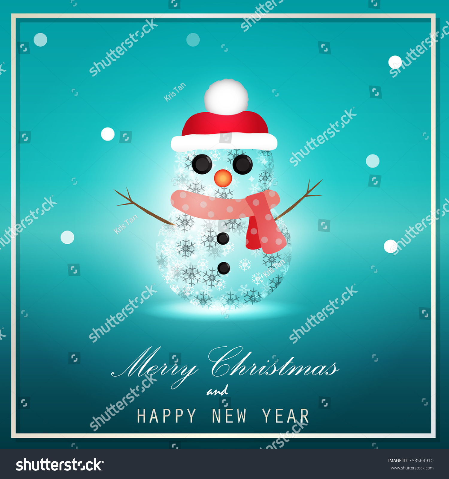 merry christmas and happy new year greeting card background vector design of snowman and decoration