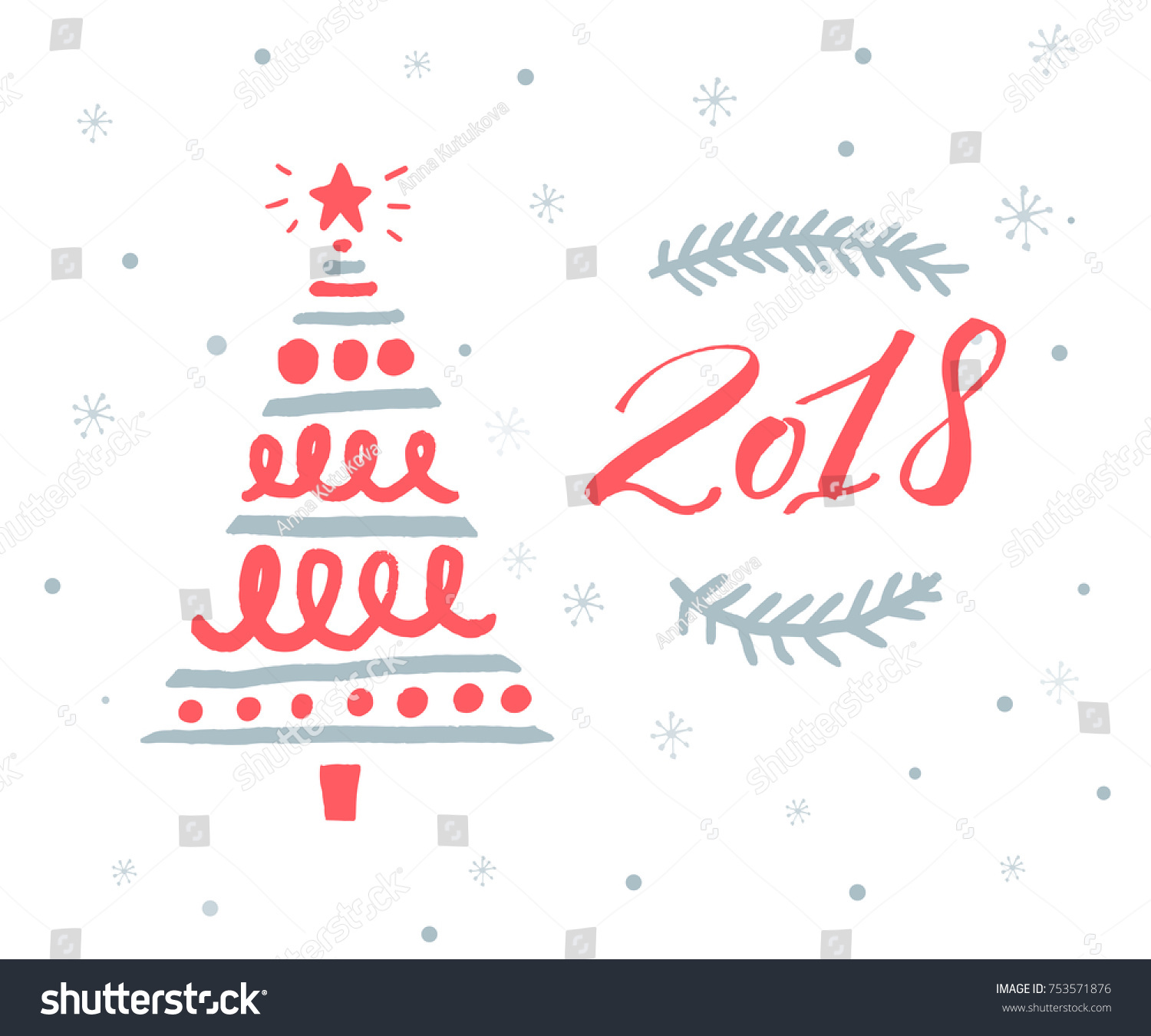 2018 new year greeting card template stock vector 753571876 2018 new year greeting card template with red numbers and hand drawn christmas tree m4hsunfo