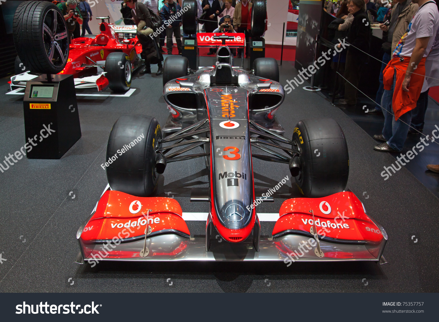 geneva march 8 the mclaren mercedes f1 racing car on display at the pirelli stand at 81st. Black Bedroom Furniture Sets. Home Design Ideas
