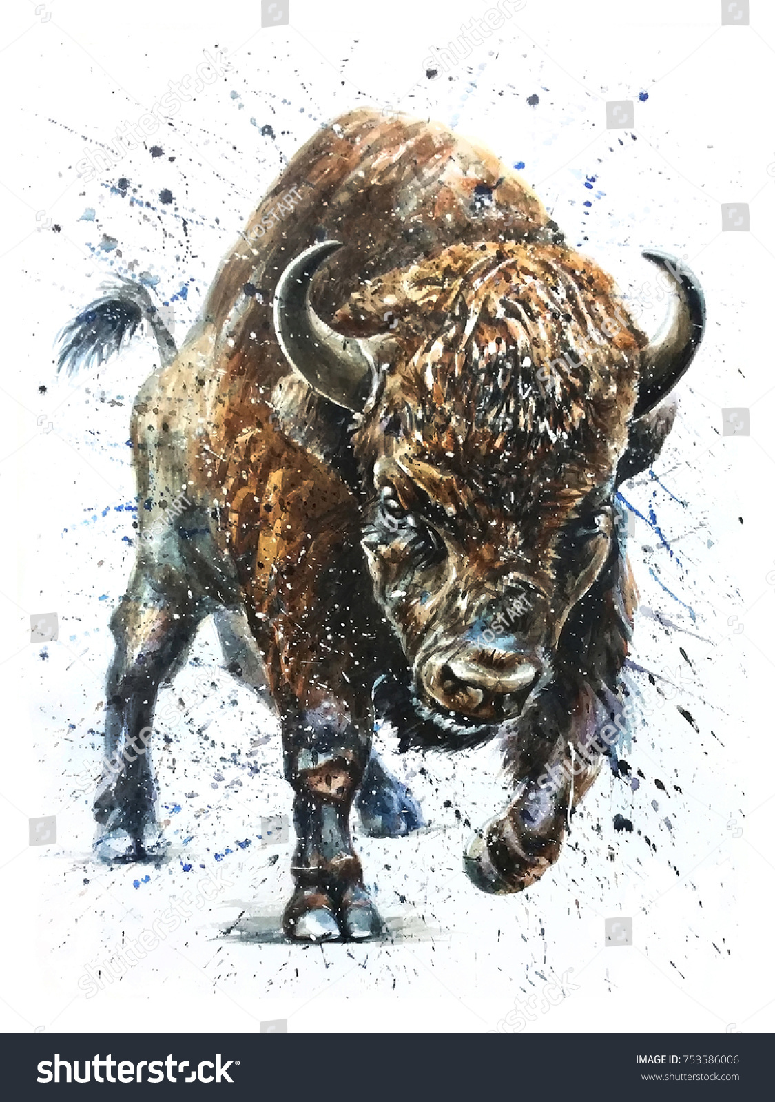 watercolor buffalo bison animal background isolated stock