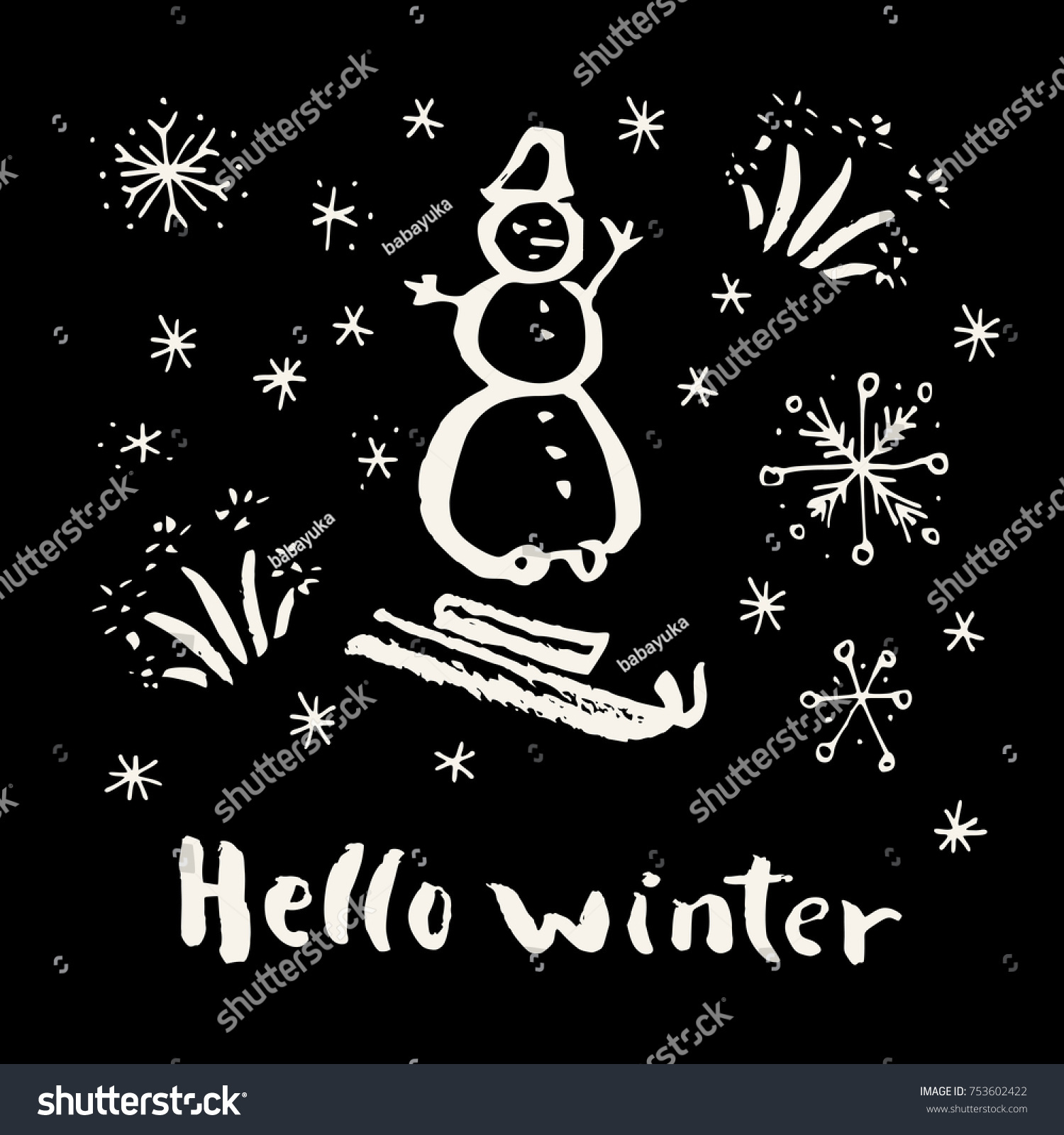 Charmant Hello Winter. Merry Christmas And Holiday Season Calligraphic Hand Drawn  Greeting Card In Black And