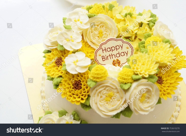 Birthday Cake Flowers On White Background Stock Photo Edit Now