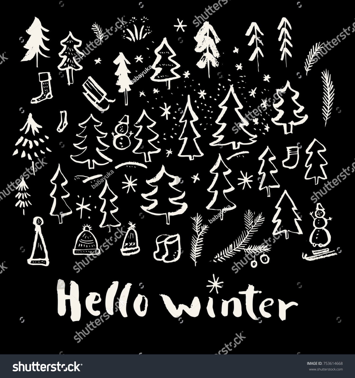 Genial Hello Winter. Merry Christmas And Holiday Season Calligraphic Hand Drawn  Greeting Card In Black And