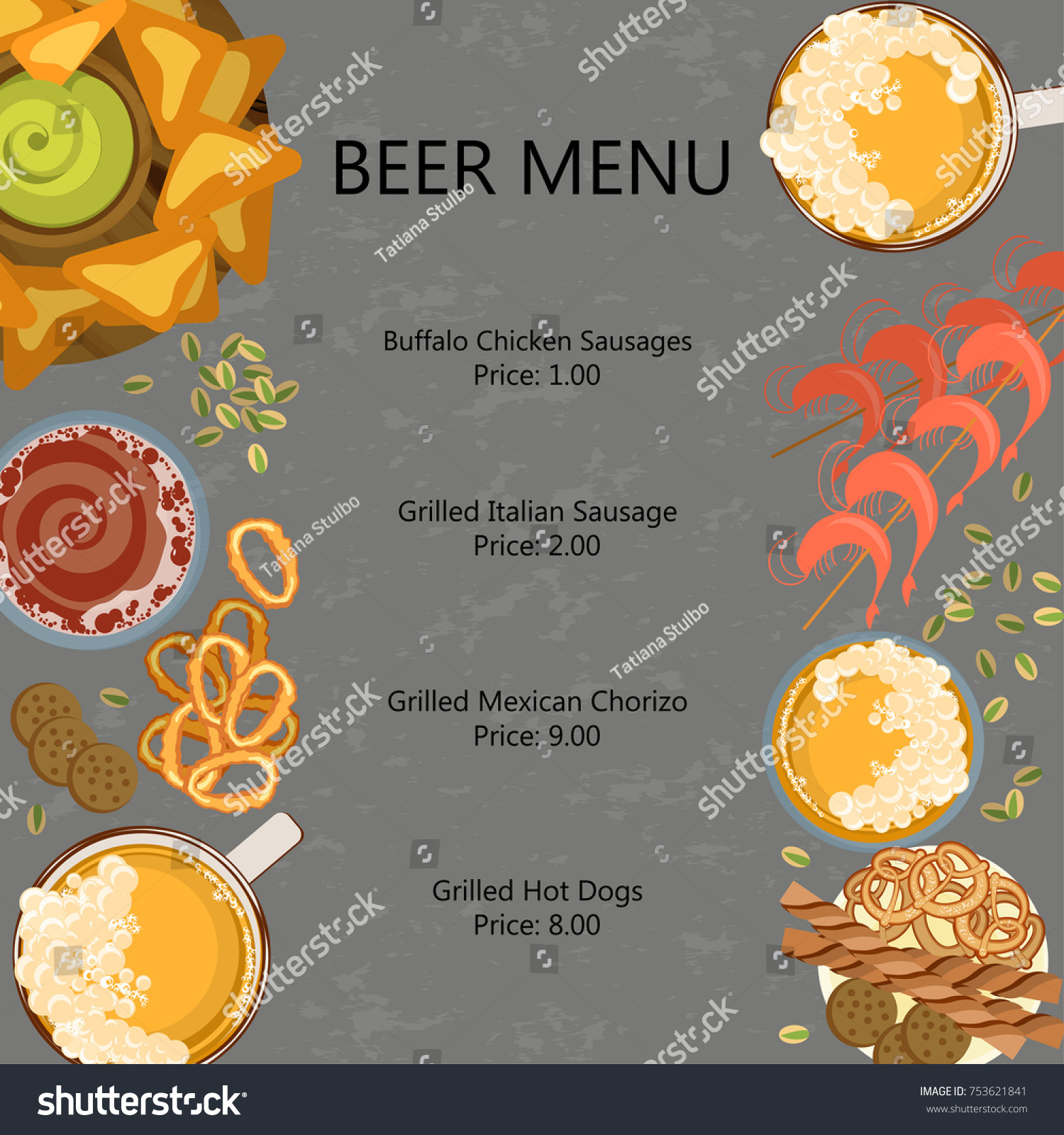 outstanding snack bar menu template adornment examples