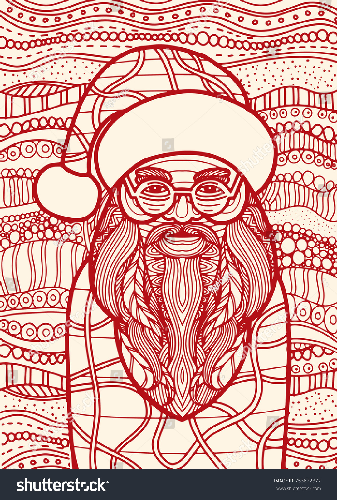Drawing Santa claus zentangle style for coloring book, tattoo, shirt ...