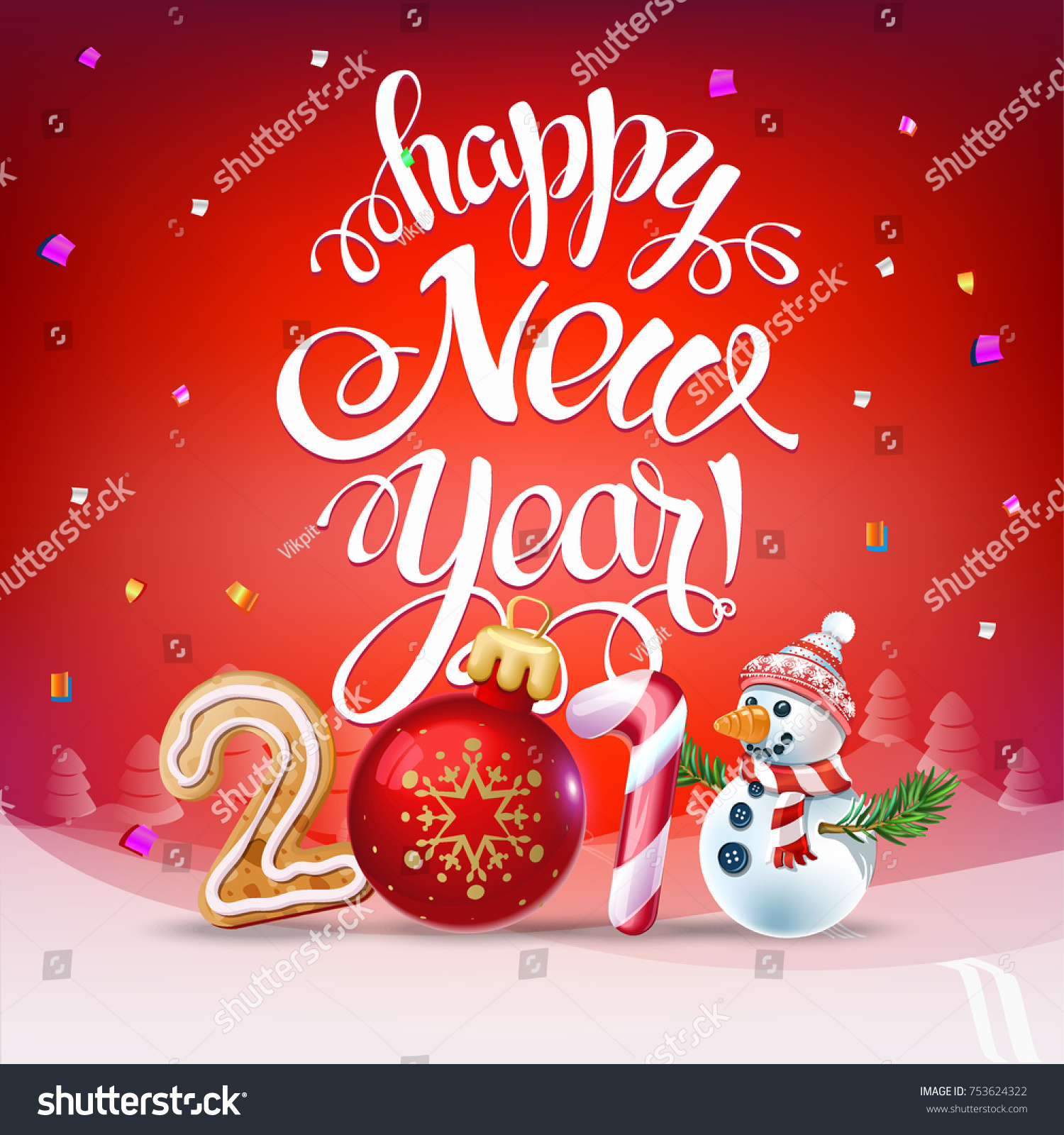 Happy new year 2018 decoration poster stock vector for Decoration new year