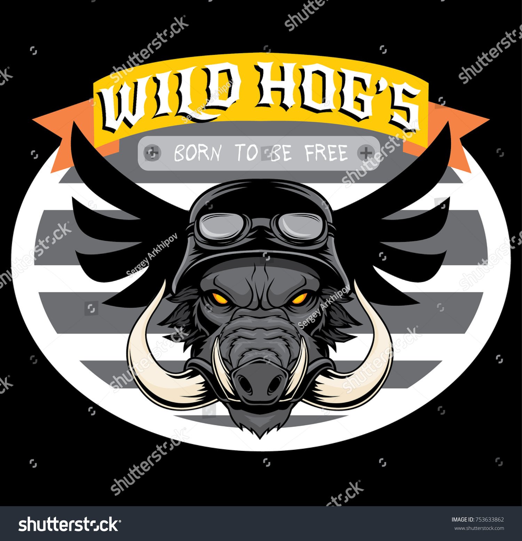 Wild Hog Wearing Helmet Vector Illustration Stock Vector 753633862