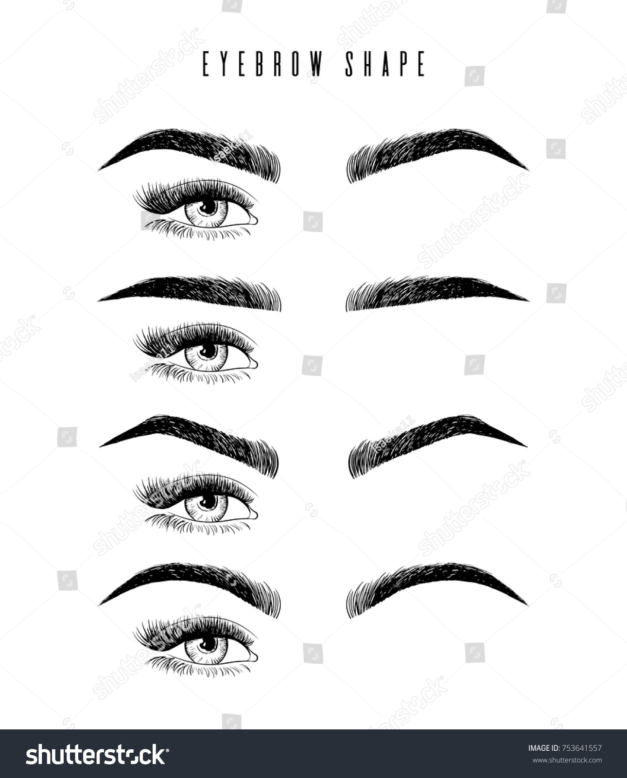 Eyebrow Shaping Women Face Makeup Eyebrows Stock Vector Royalty