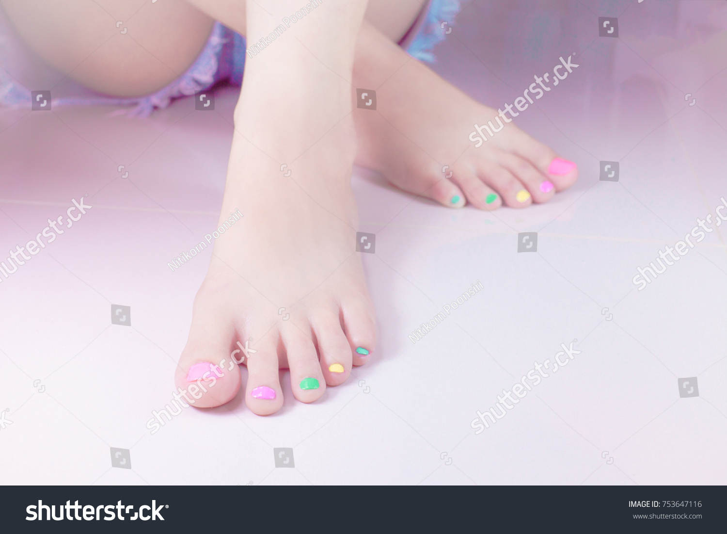 Woman Painting Toe Nails Own Manicure Stock Photo & Image (Royalty ...