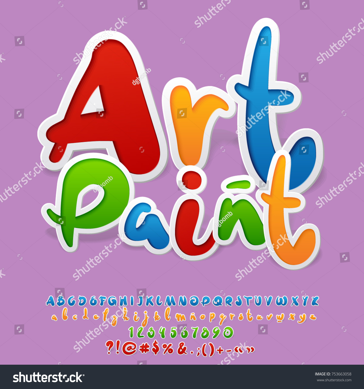 Bright Logo Text Art Paint Vector Stock Vector Royalty Free