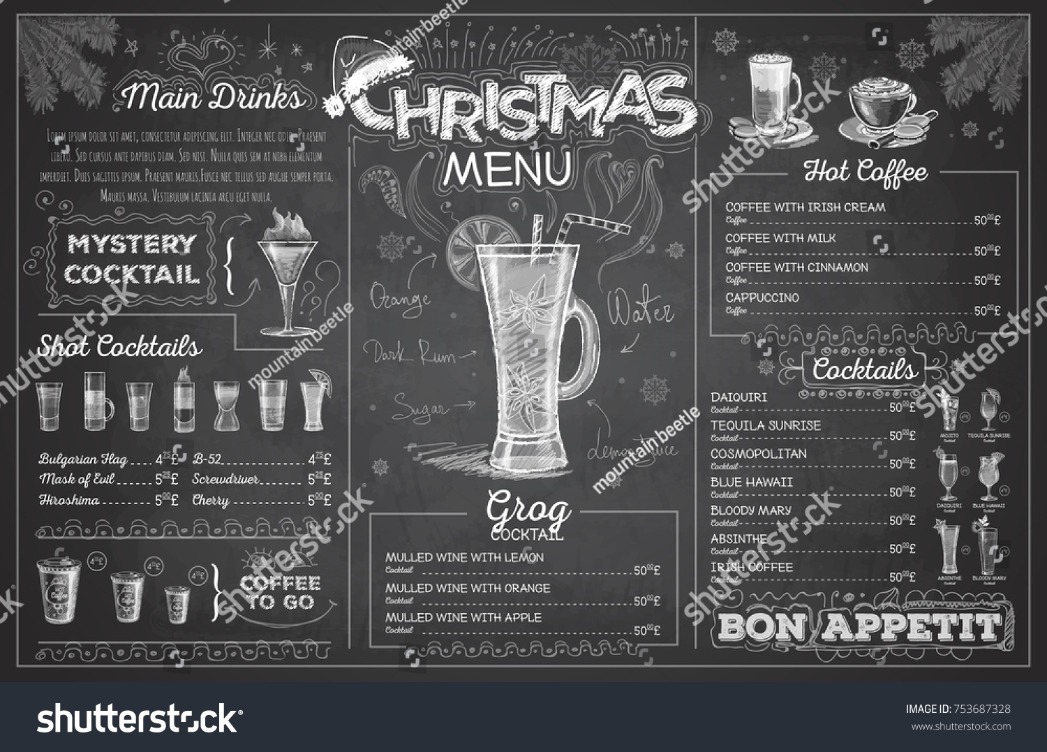 vintage chalk drawing christmas menu design restaurant menu ez canvas