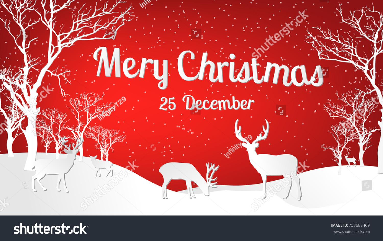 Christmas Greeting Card Merry Christmas Reindeer Stock Vector