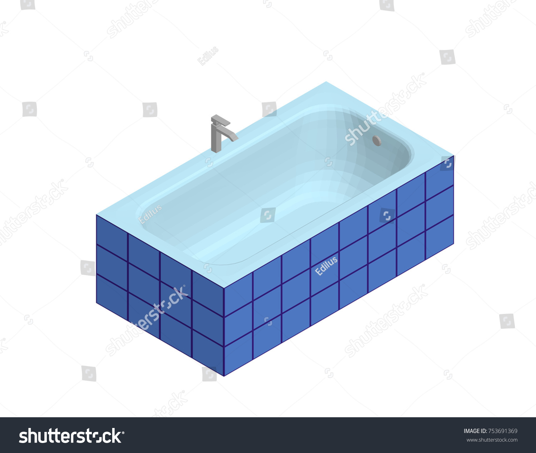 Modern Bathtub Isolated On White Background Stock Vector 753691369 ...