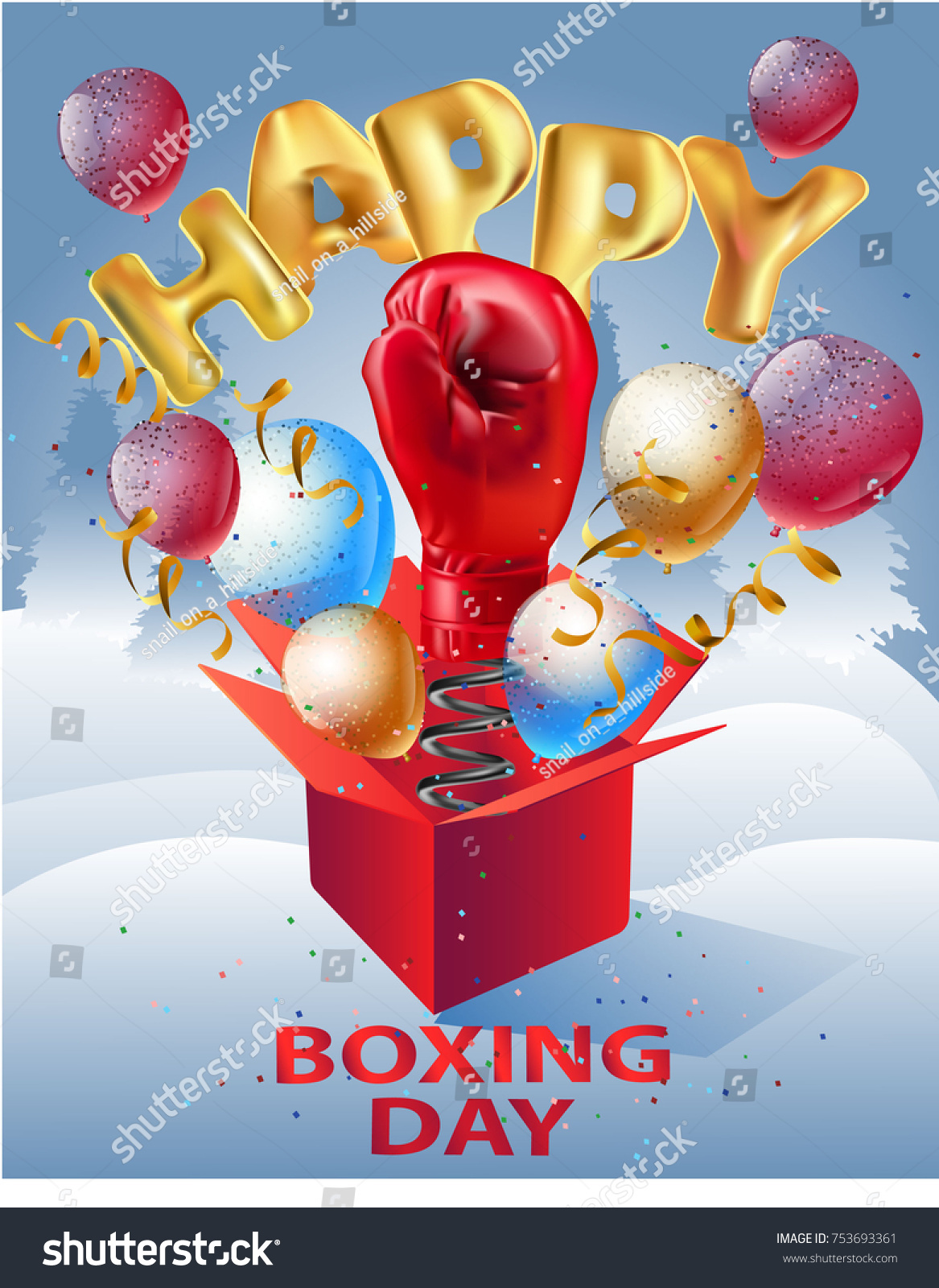 Happy Boxing Day Card Stock Vector Royalty Free 753693361