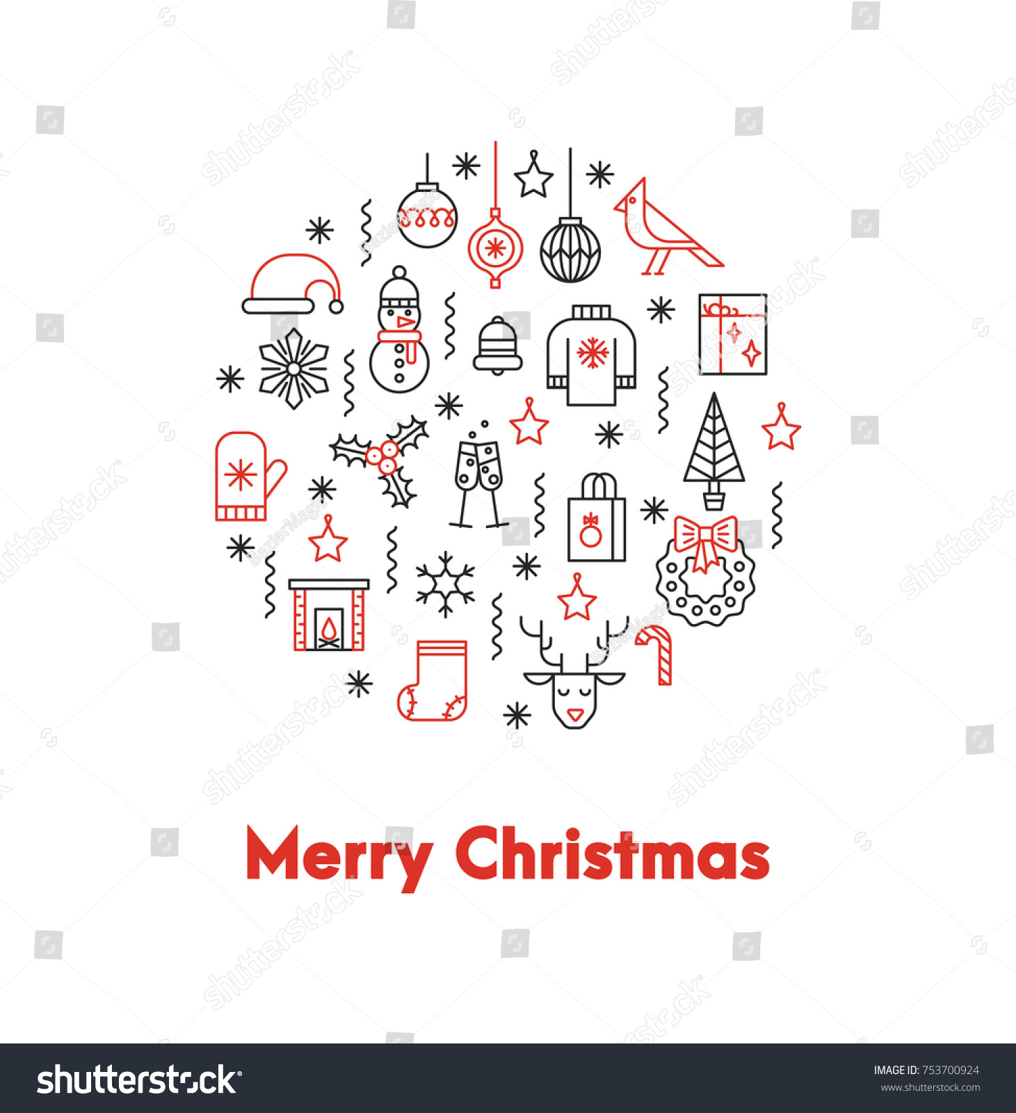 Greeting card thin line icons ans stock vector 753700924 greeting card with thin line icons ans big red words merry christmas the flyer can kristyandbryce Images