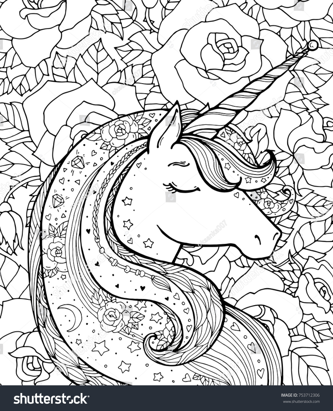 Unicorn And Rose Pattern Magical Animal Vector Artwork Black White Coloring