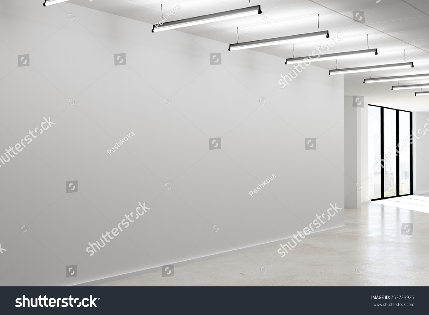 modern office lamps. Side View Of Modern Office Interior With Empty Concrete Wall, Lamps And City View. A