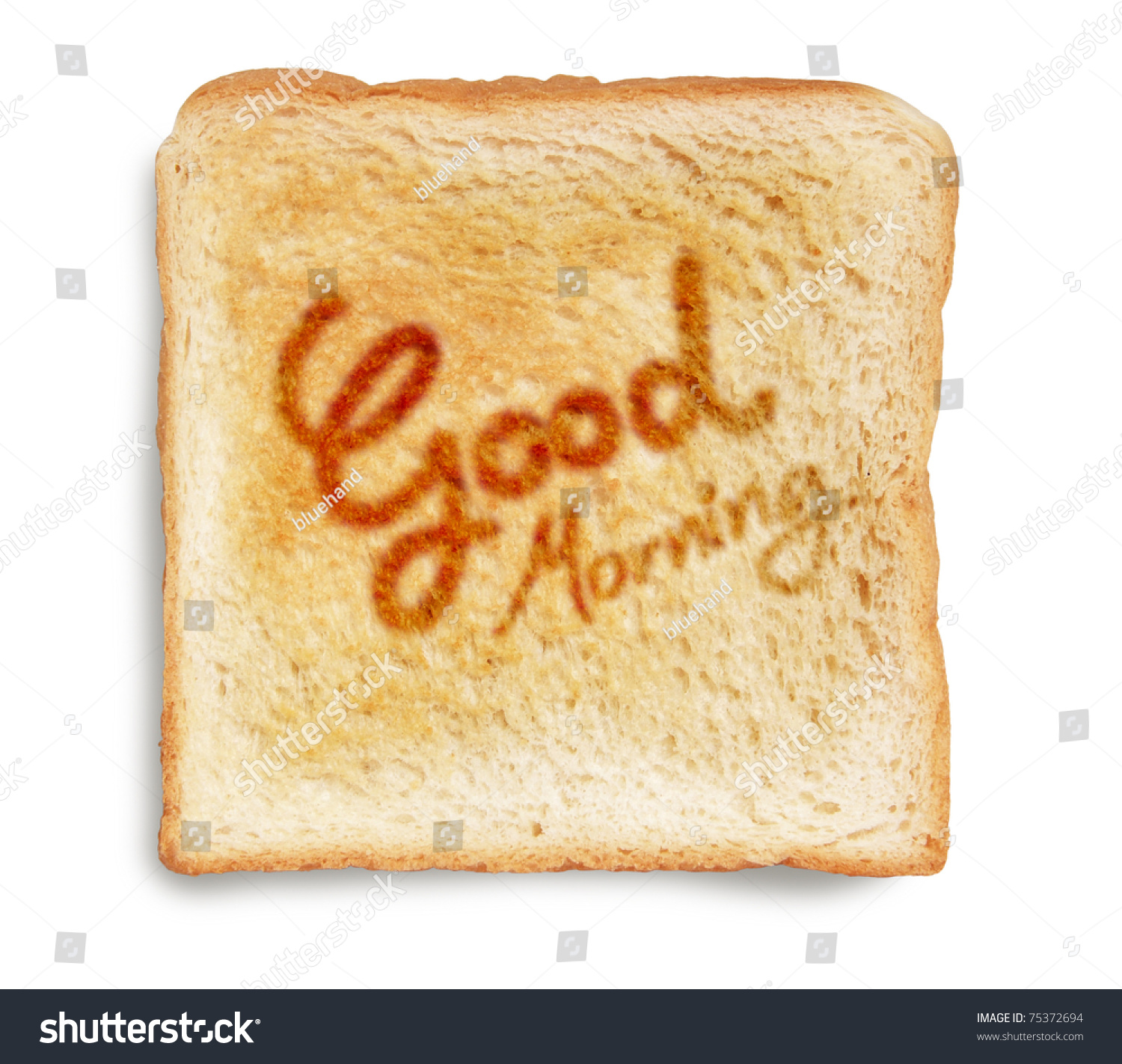 Good Morning Greeting On Toasted Bread Stock Photo