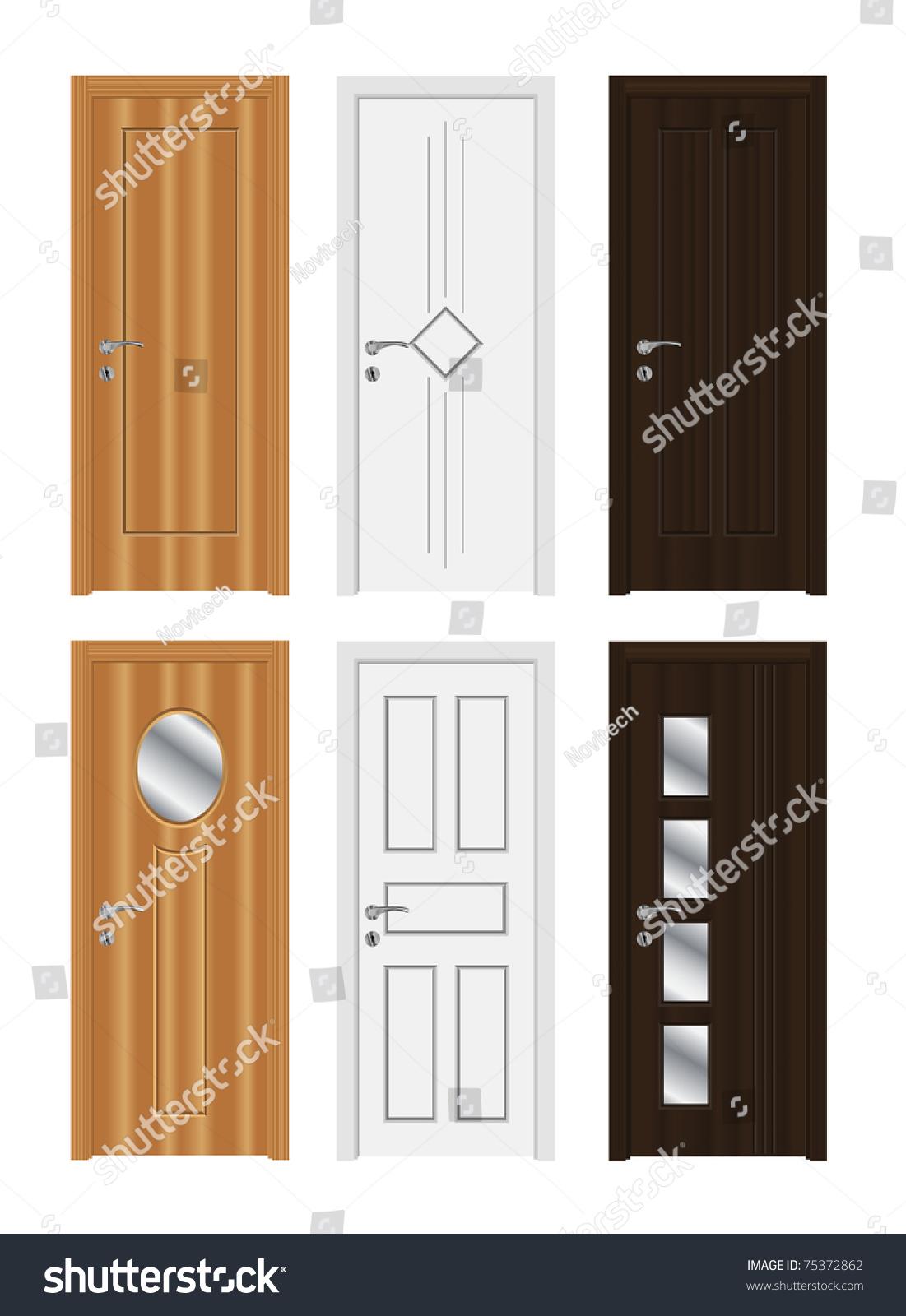 Wooden Door Types High Detailed Realistic Doors Stock