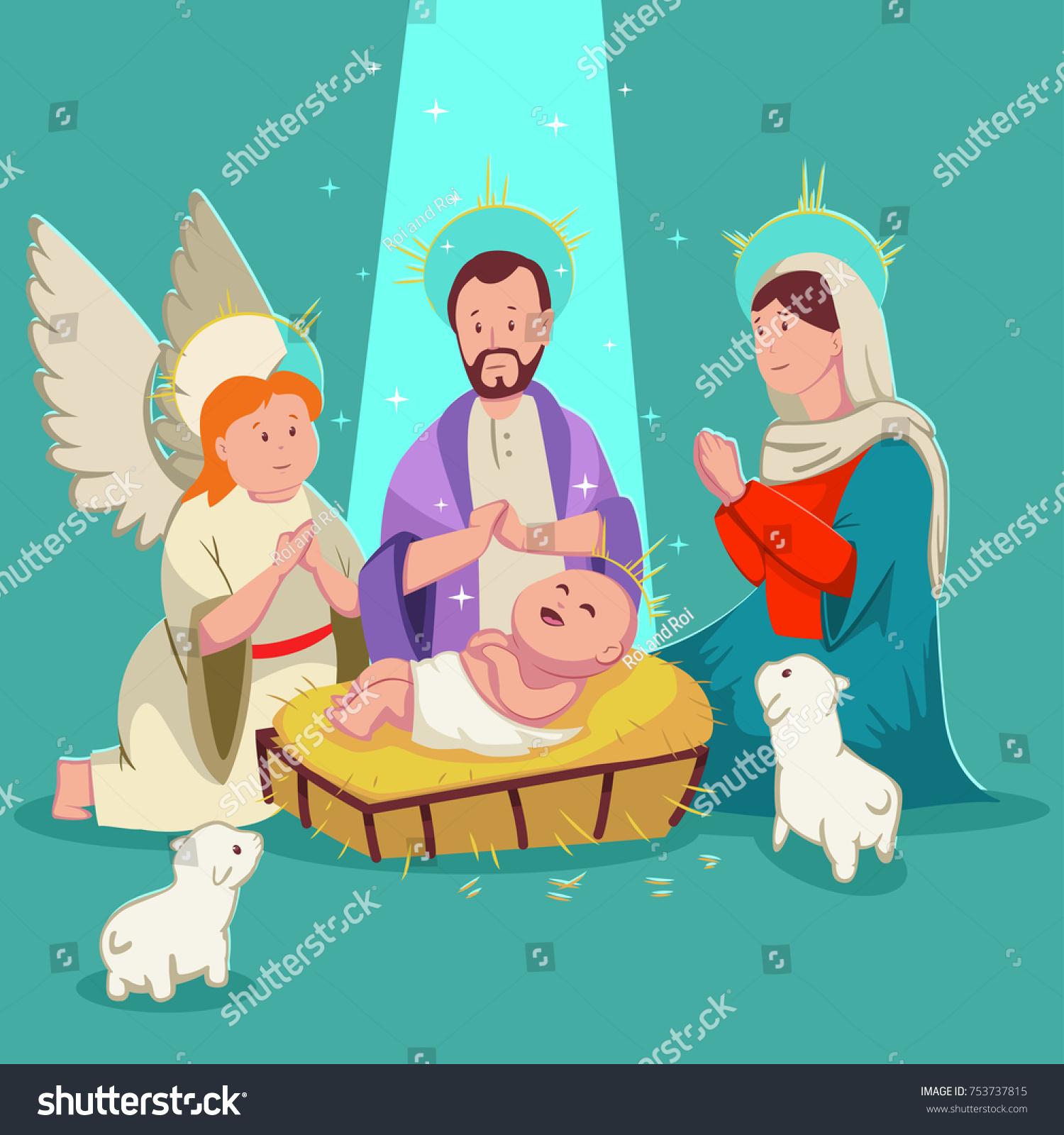 Birth Baby Jesus Christmas Nativity Scene Stock Vector (Royalty Free ...