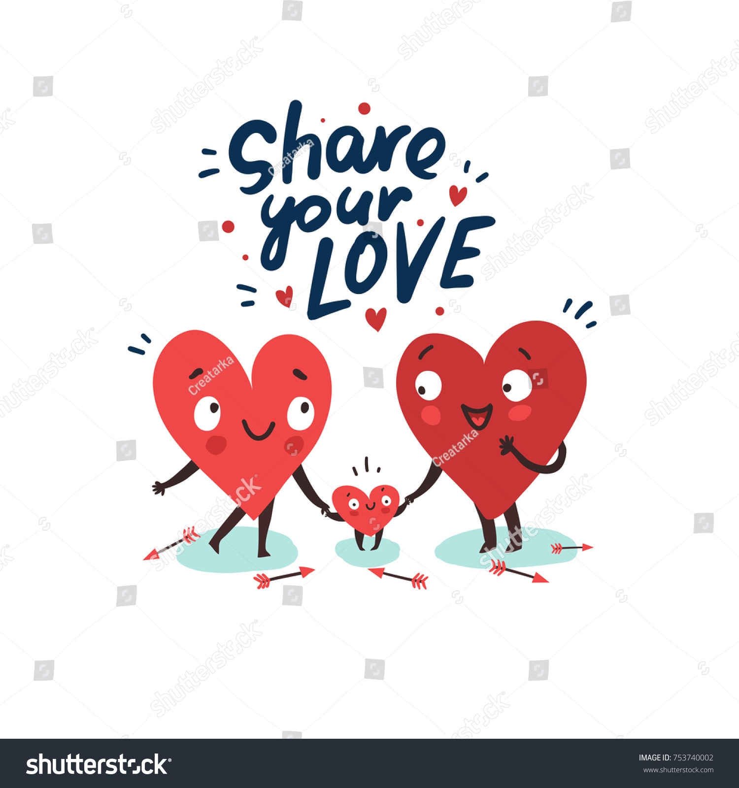 Cute family parents child hearts characters stock vector 753740002 cute family parents with child hearts characters as symbols of love and family buycottarizona Images