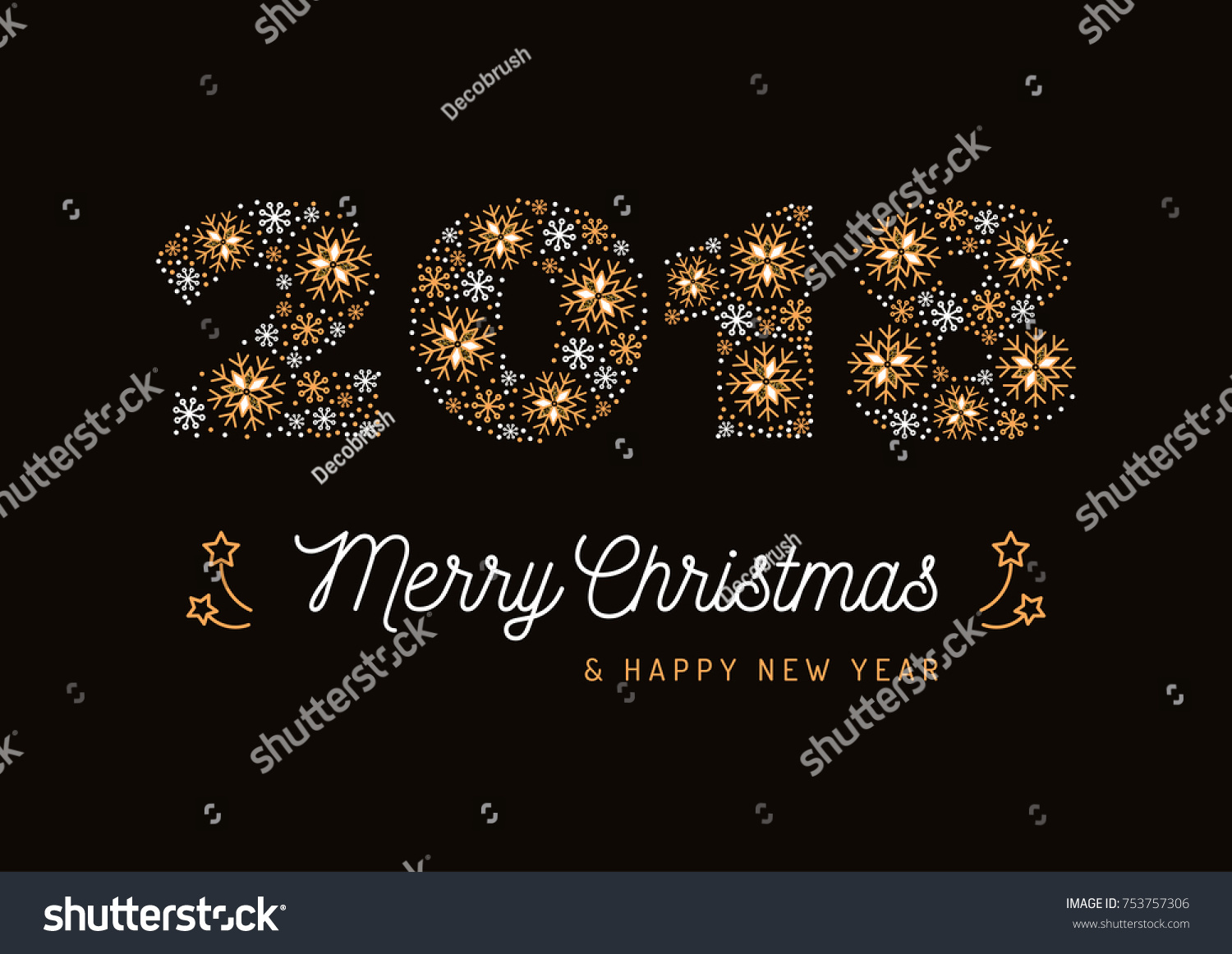 Number 2018 Made Snowflakes Christmas Card Stock Vector Royalty