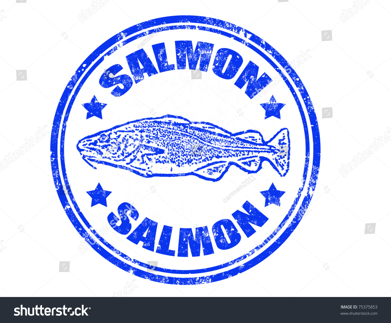Grunge rubber stamp salmon fish word stock vector 75375853 for Fish symboled stamp