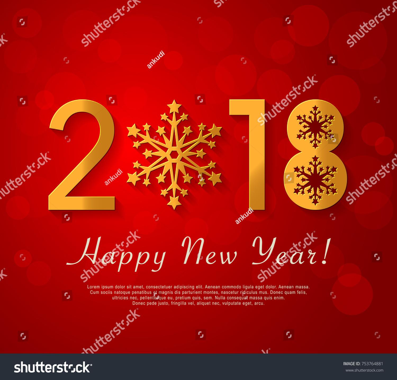 Happy new year 2018 design vector stock vector 753764881 happy new year 2018 design vector red greeting illustration with golden snowflake kristyandbryce Gallery