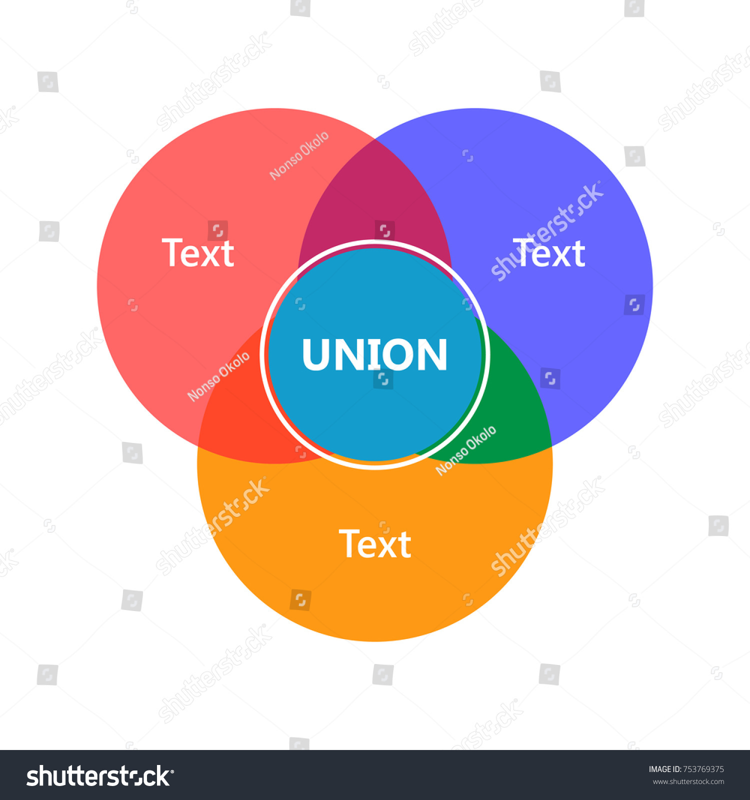 Venn diagram showing sets intersection union stock vector venn diagram showing sets intersection and union pooptronica