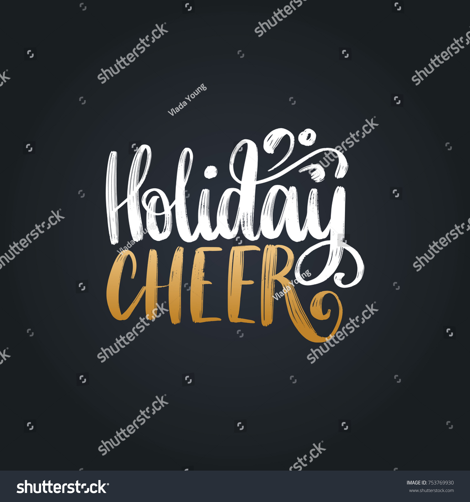 Holiday Cheer Lettering On Black Background Stock Vector HD (Royalty ...