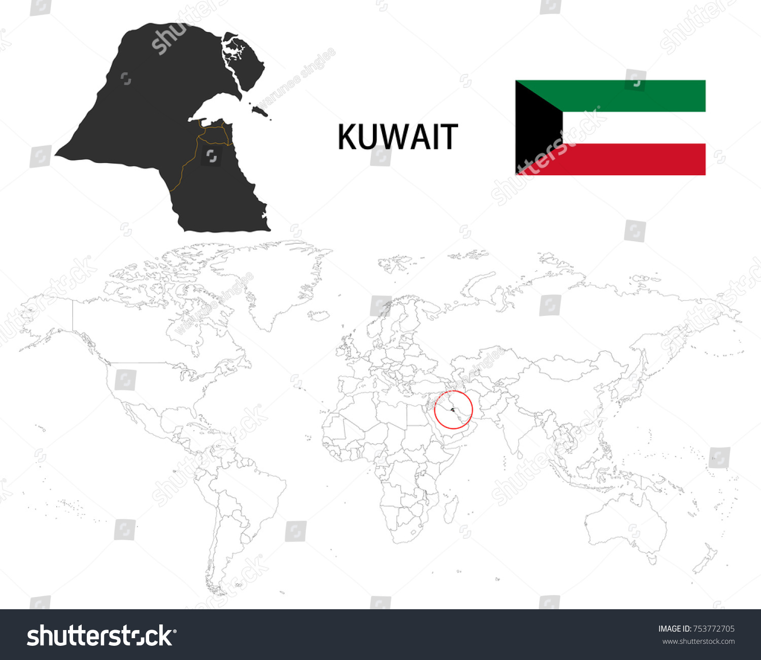 Kuwait map on world map flag stock vector 753772705 shutterstock kuwait map on a world map with flag on white background gumiabroncs Image collections