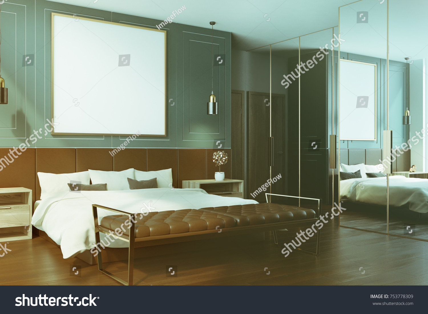 blue bedroom interior with a dark wooden floor a double bed with a framed square