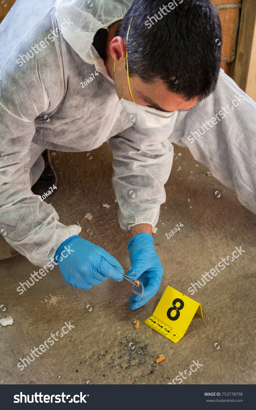 Forensic Expert Collects Evidence Crime Scene Stock Photo Edit Now 753778798