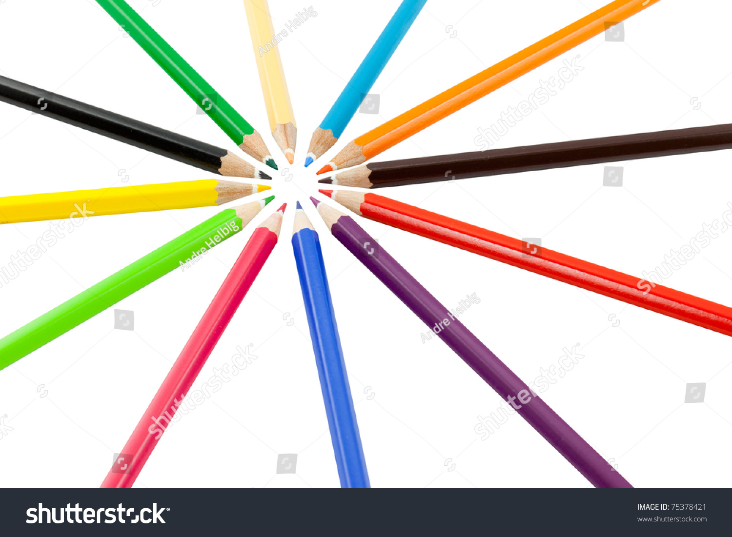 Crayon Colored Circle : Colored pencil ring round circle of colorful crayon