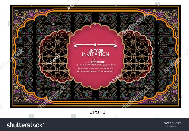Vector Illustration Indian Wedding Invitation Card Stock Photo ...