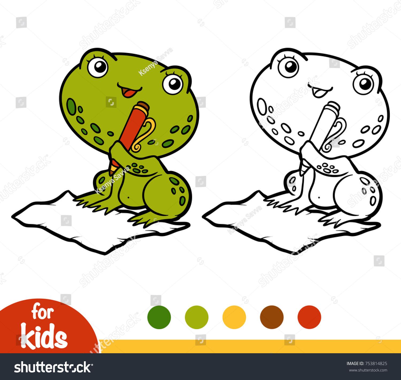 Coloring Book Children Frog Stock Vector 753814825 - Shutterstock