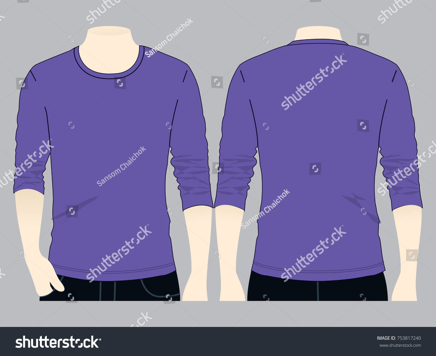 Purple Long Sleeve T Shirt Template Stock Photo (Photo, Vector ...