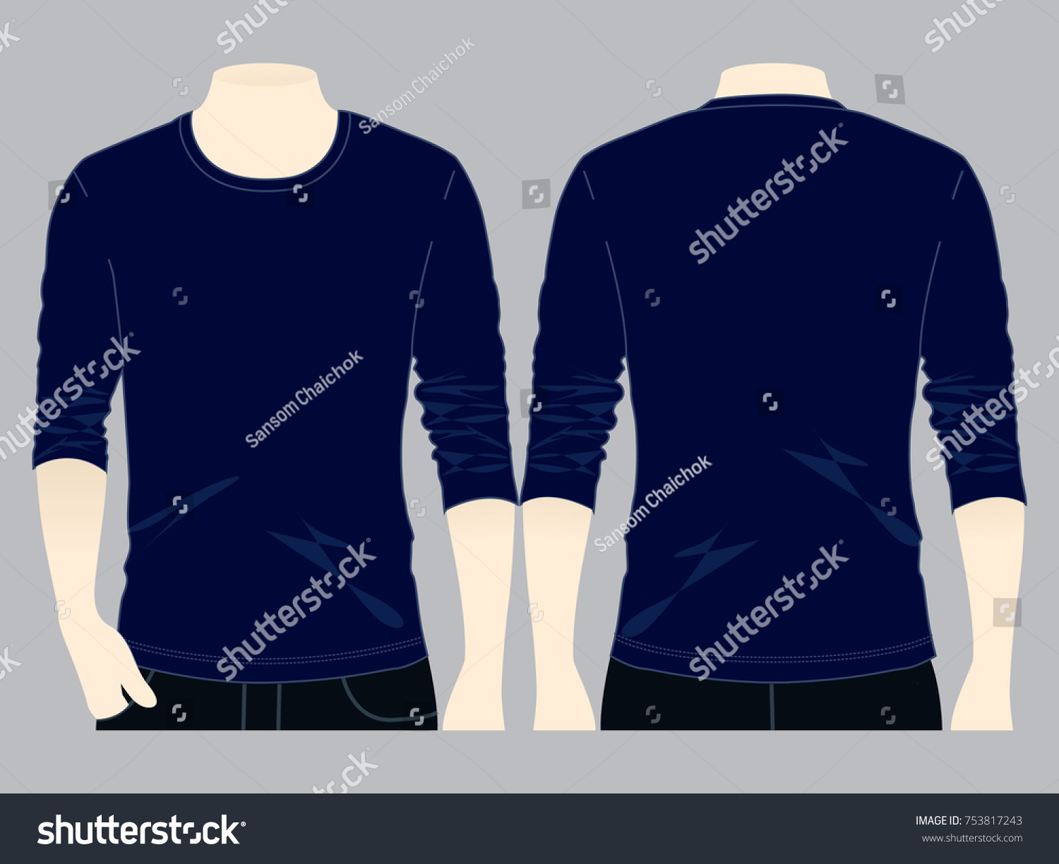 Navy Blue Long Sleeve T Shirt For Template FrontBack And Side Views