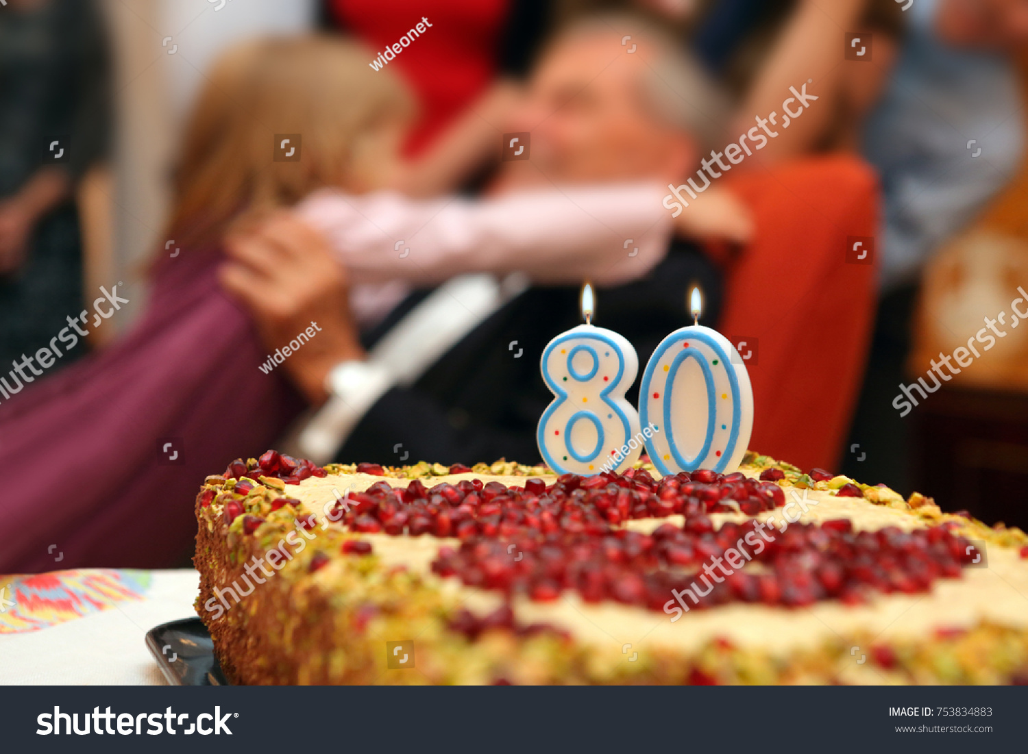Eighty Birthday Grandfather Granddaughter Family Number Stock Photo