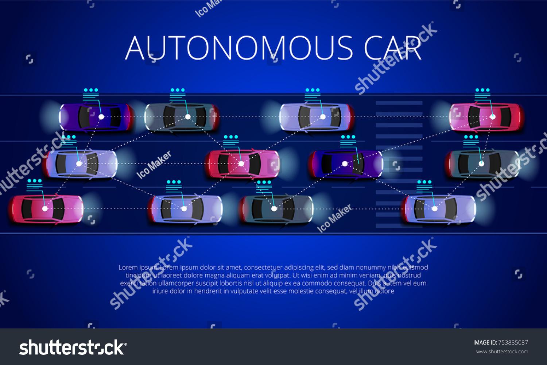 Smart Car Concept Autonomous Selfdriving Vehicle Stock Vector