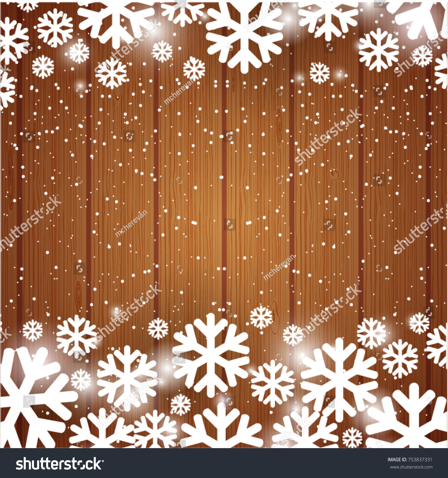 illustration for christmas or new year card snowflakes on wooden planks background