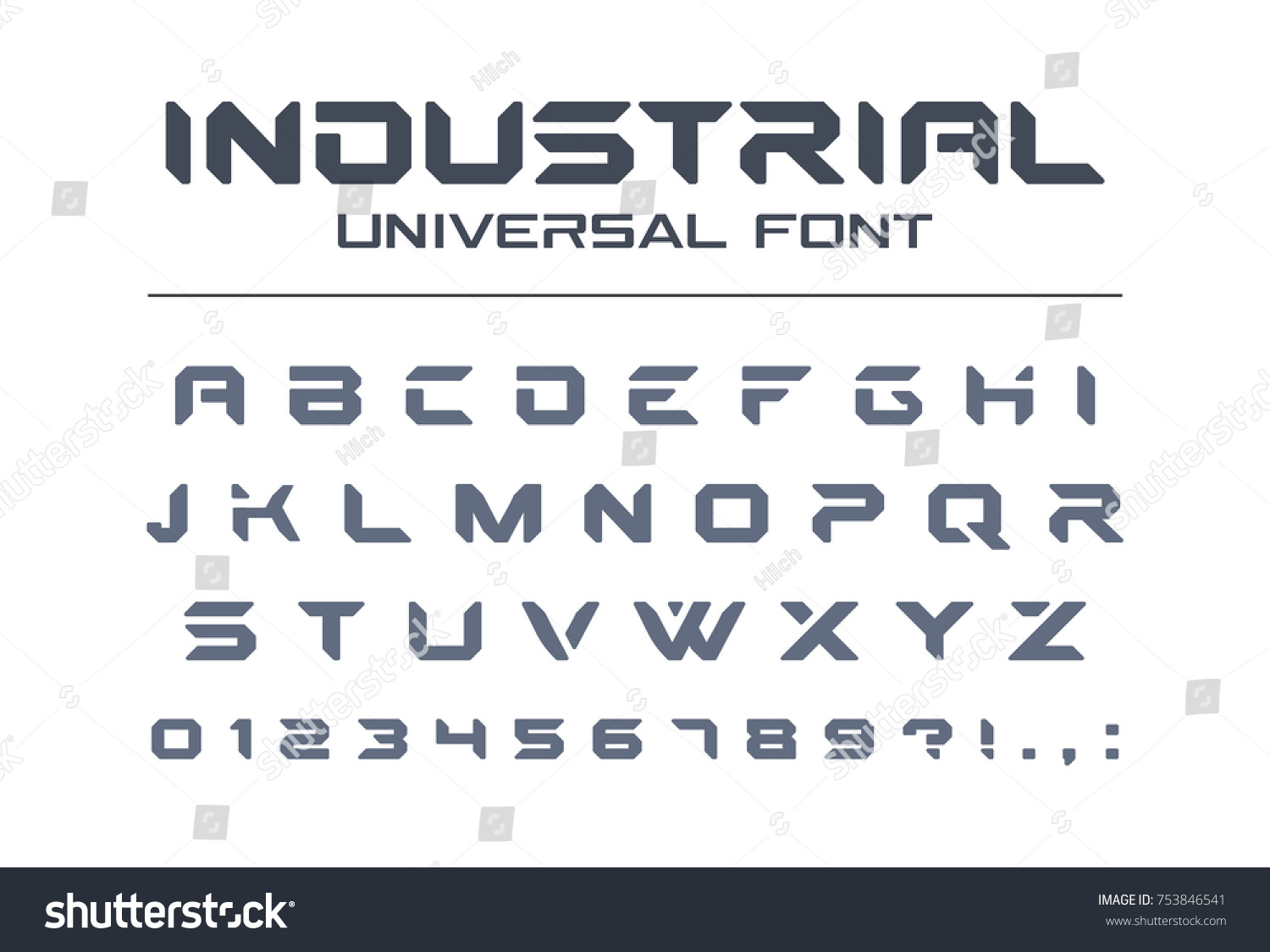 Hard Style Universal Font Military Army Stock Vector Royalty Free