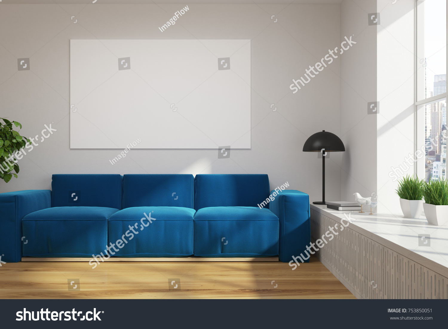 Living Room Interior With White Walls A Wooden Floor Bright Blue Sofa And